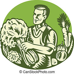 Organic Farmer Green Grocer Vegetable Retro