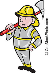 Fireman Firefighter Emergency Worker - illustration of a...