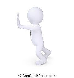 White human pushing something. Isolated render on a white...