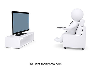 3d white human sitting in a chair and watching TV Isolated...