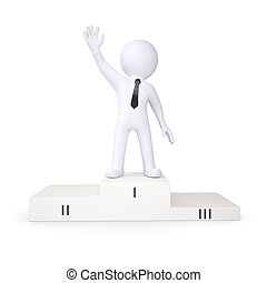 3d white human is in the first place podium. Isolated render...
