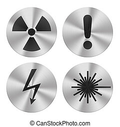 Hazard group icons - Signs on aluminum plates isolated on...