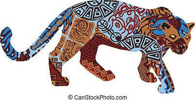 Jaguar in the ethnic pattern of Ind - Jaguar on a white...