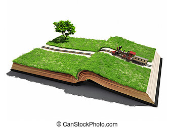 moving train on the open book pages (illustrated concept)