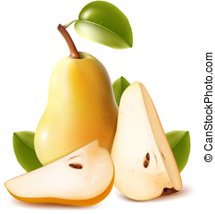 Ripe pears with green leaves - Photo-realistic vector. Ripe...