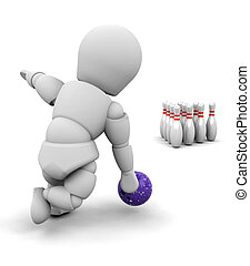 Ten pin bowling - 3D render of someone ten pin bowling
