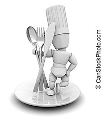 Chef with cutlery - 3D render of a chef with cutlery