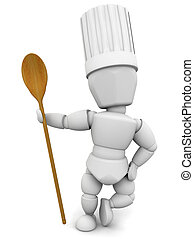 Chef with wooden spoon - 3D render of a chef with a wooden...
