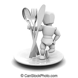 Person with cutlery - 3D render of someone with cutlery