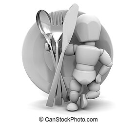 Dinner service - 3D render of someone with a dinner service