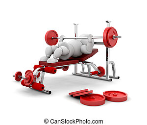 Weight lifting - 3D render of someone weightlifting