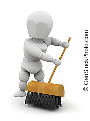 Sweeping up - 3D render of someone with a sweeping brush