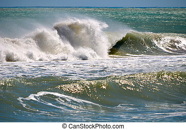 Turbulent Surf - waves breaking on a southeast florida beach