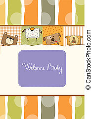 baby shower card with funny animals - baby shower card with...