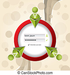 Social network login screen with abstract background