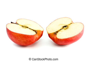 Two red apple halves isolated on the white background