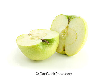 Two green apple halves isolated on the white background
