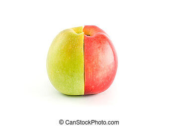 Half of red and green apples form a whole fruit isolated on...