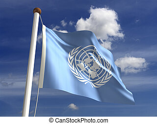 United Nations flag with clipping path isolated with...