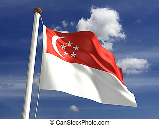 Singapore flag with clipping path (Computer generated image)