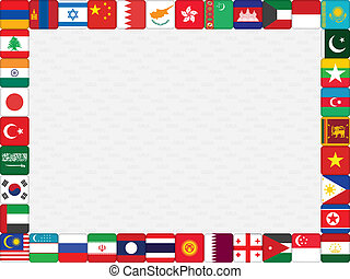 Asian countries flag icons frame - background with Asian...