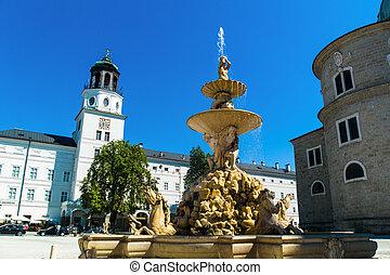 austria, salzburg, residence square - residence square in...