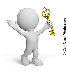 3d person elated by success - 3d man with a gold key 3d...