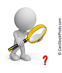 3d person with a magnifying glass - Man looking through a...