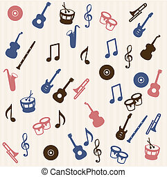 Music elements seamless pattern