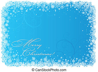 Blue Christmas background with snowflakes - Christmas...