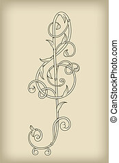 vector floral vintage G clef on mesh background, rewtor,...