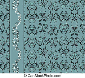 Vector Vintage Seamless Pattern with Floral Seamless Border