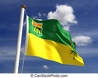 Saskatchewan flag Canada isolated with clipping path