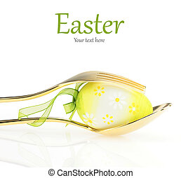 Easter menu. Spoon with fork and Easter egg