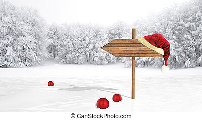 Wooden sign with Santa hat on snowy field