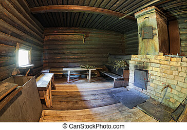Brick oven in a Russian wooden bath