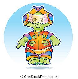 Funny alien wearing space suit