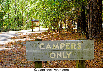 Campers Only - An area at a national park for campers only.