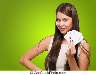 Young Woman Holding Playing Cards