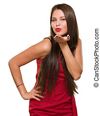 Beautiful Young Woman Blowing A Kiss On White Background