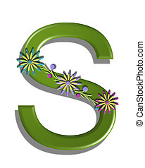 Alphabet 3D Blooming Vine S - The letter S, in the alphabet...