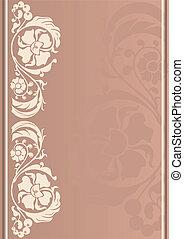 Vertical floral frame. vintage - Vertical floral frame in...