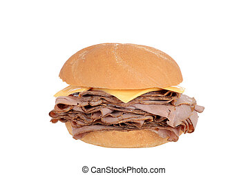 Roast beef sandwich with cheese - isolated Roast beef...