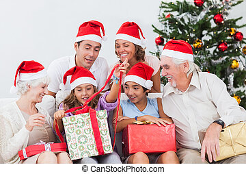 Family watching little girl opening christmas present