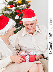 Elderly couple swapping christmas presents on the couch