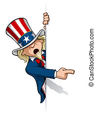 Uncle Sam Pointing at a Banner - Clean-cut, overview cartoon...