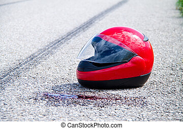 accident with a motorcycle traffic accident and skid marks -...