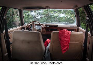 Crashed Car - Real scene Inside of a crashed car