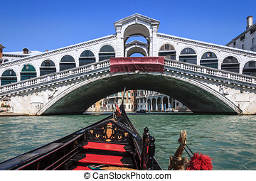 Gondola Ride - view from gondola to Rialto bridge in Venice