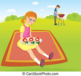 Girl and men on the picnic